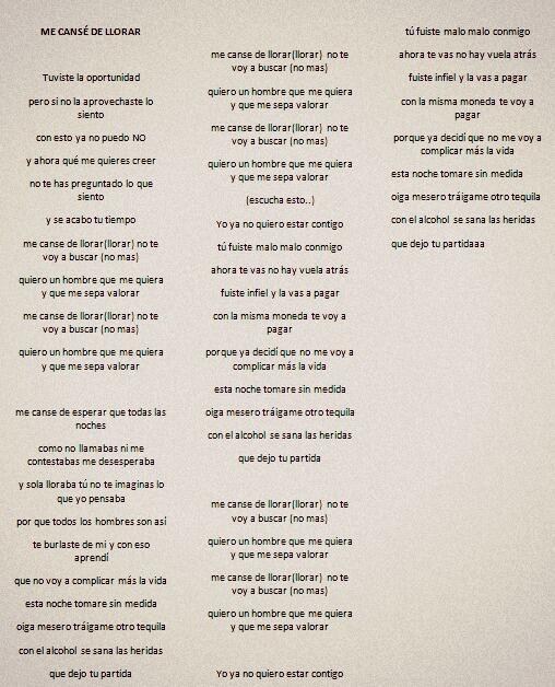 letras de canciones para llorar: