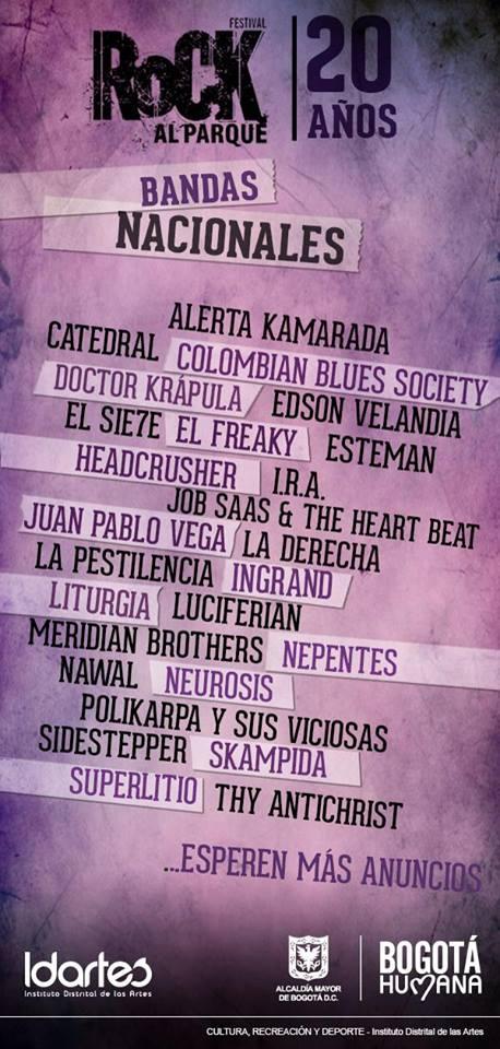 Bandas Nacionales Rock al Parque 2014