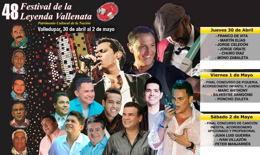 Marc Anthony y Juan Luis Guerra estarán en el Festival Vallenato