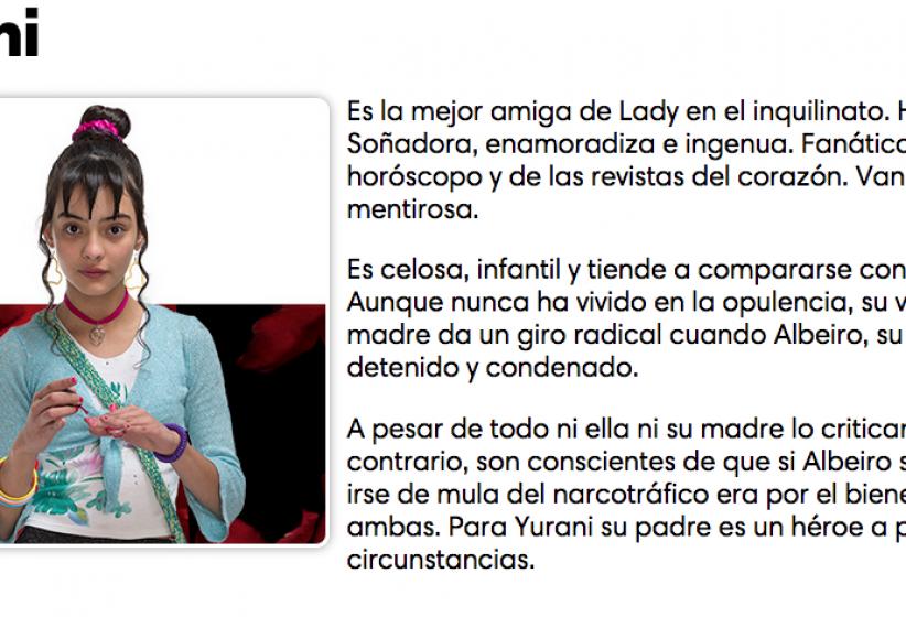 Personajes de Lady, la vendedora de rosas