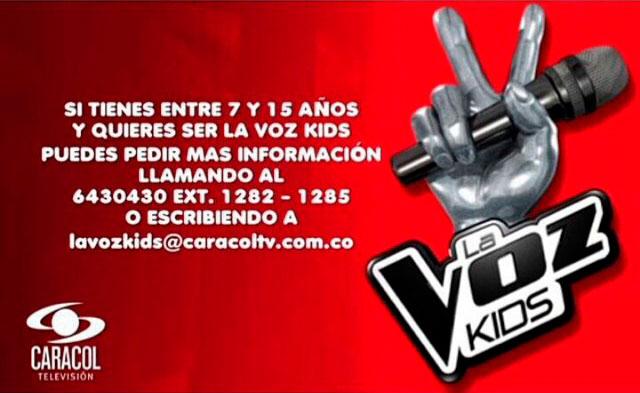 Inscripciones La Voz Kids Colombia 2015